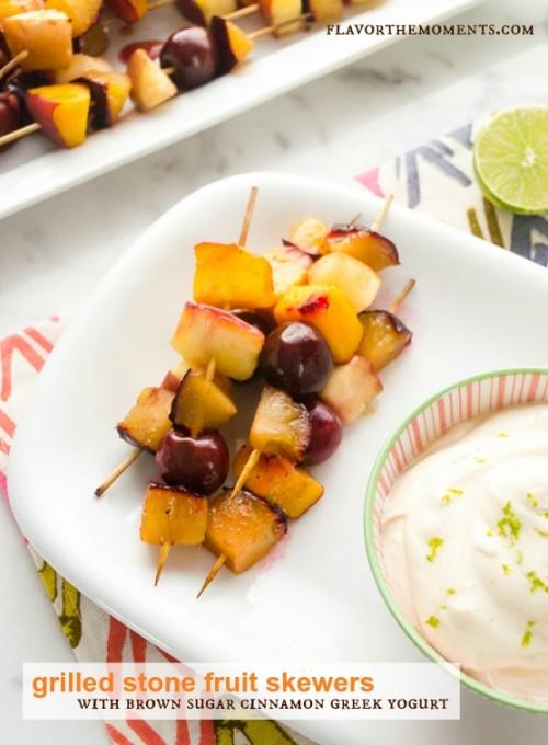 grilled stone fruit skewers with brown sugar cinnamon greek yogurt dip1