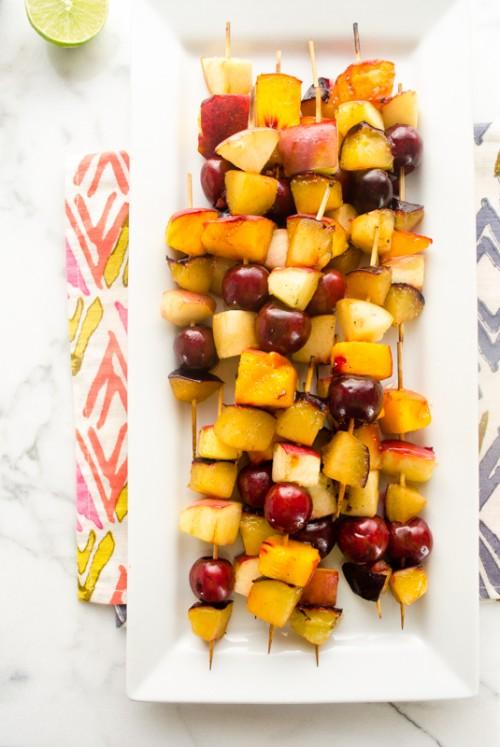 grilled stone fruit skewers with brown sugar cinnamon greek yogurt dip3   flavorthemoments.com