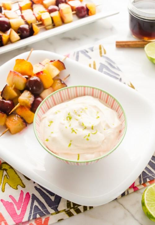grilled stone fruit skewers with brown sugar cinnamon greek yogurt dip4   flavorthemoments.com