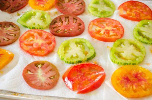 Sliced heirloom tomatoes