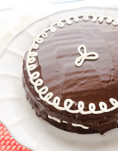 Overhead shot of hostess cupcake layer cake on pedestal