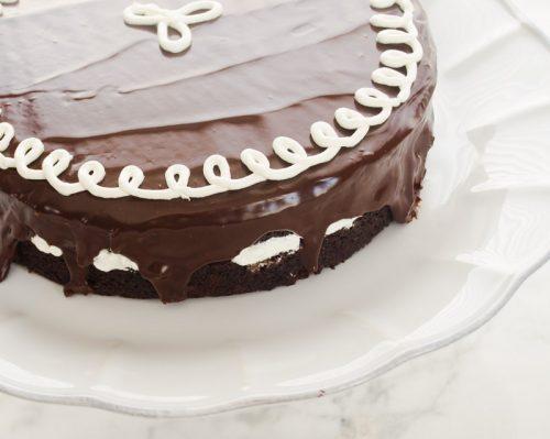 Close up of hostess cupcake layer cake