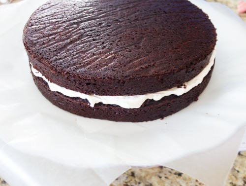 Unfrosted hostess cupcake layer cake