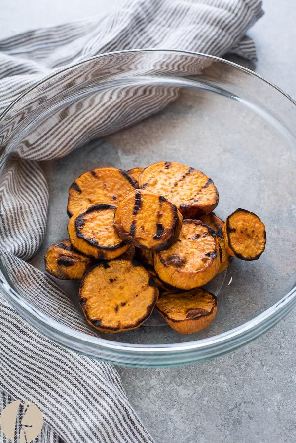 Grilled sweet potatoes in a bowl