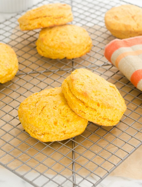 Sweet potato biscuits on wire rack