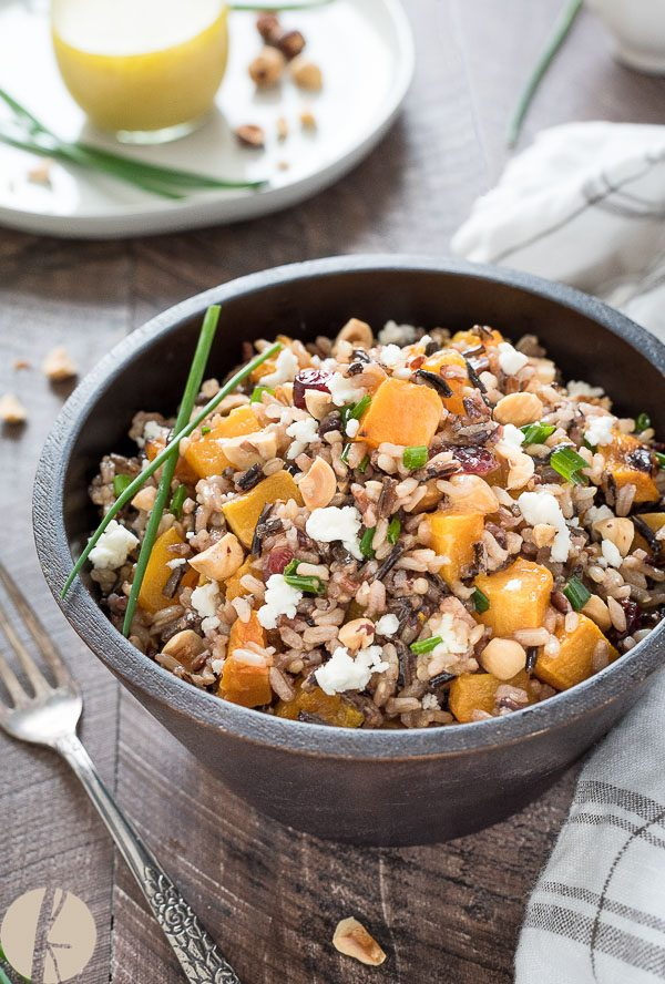 Harvest Wild Rice Salad with Maple Vinaigrette is a hearty wild rice salad with roasted butternut squash, cranberries, hazelnuts and goat cheese! {GF, Vegan option}