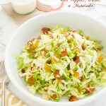 Shaved Brussels Sprout Salad with Apples, Bacon, and Hazelnuts