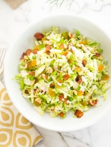 Shaved Brussels Sprout Salad with Apples, Bacon, and Hazelnuts @FlavortheMoment
