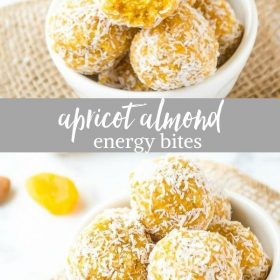 apricot almond energy bites collage