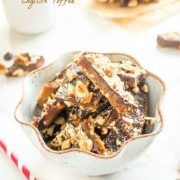 Dark chocolate english toffee in a bowl