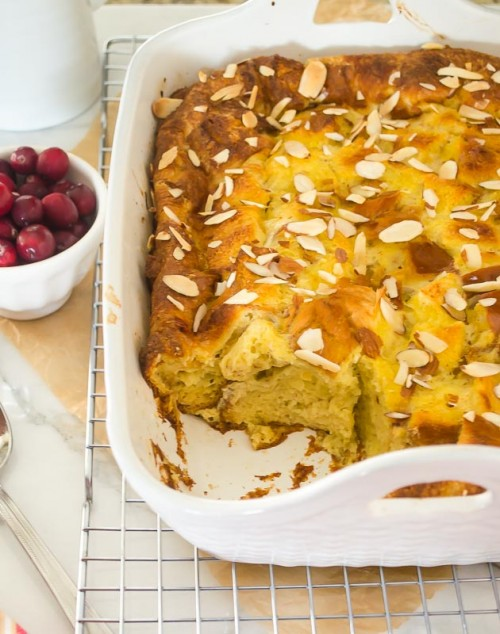 eggnog baked french toast with cranberry maple syrup3 | flavorthemoments.com