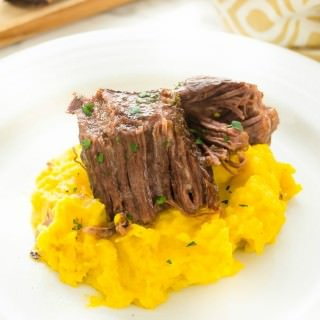Madeira Braised Short Ribs with Kabocha Squash Garlic Mashed Potatoes
