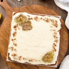 Sweet Persimmon Bars with Brown Butter Orange Frosting are a super moist persimmon cake topped with a flavorful brown butter orange frosting!