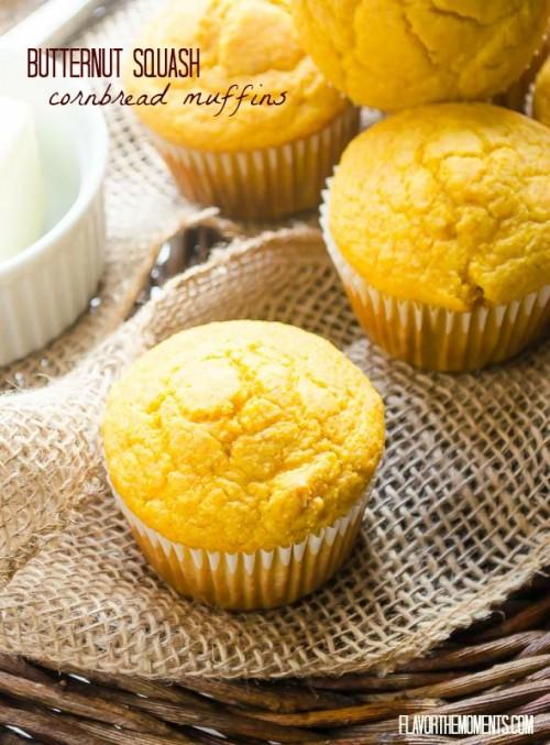 Butternut squash cornbread muffins on burlap