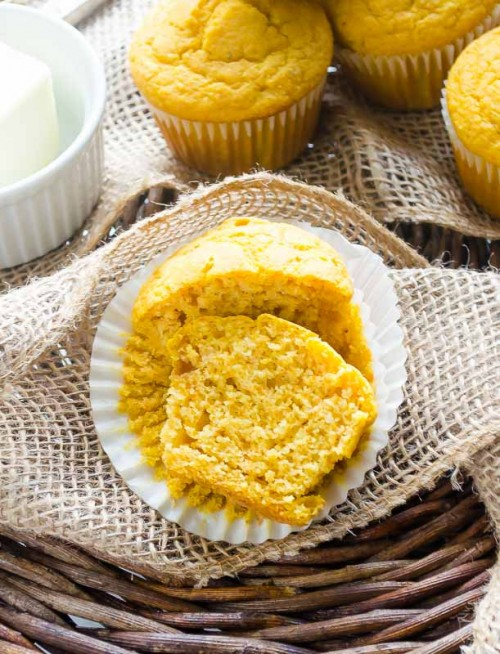 Butternut squash cornbread muffin cut in half