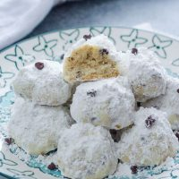 Chocolate Chip snowball cookies piled on a plate