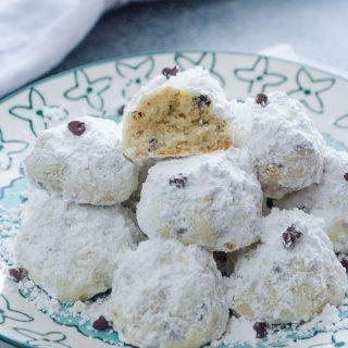 Chocolate Chip Hazelnut Snowball Cookies