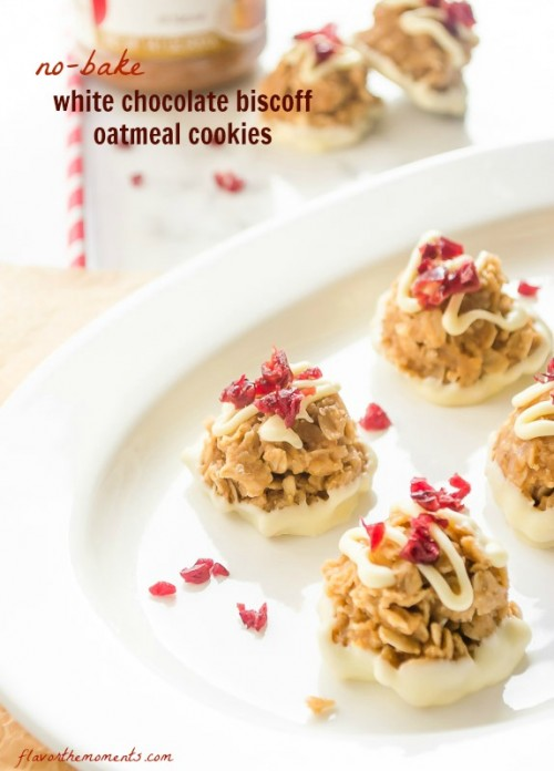 No bake biscoff oatmeal cookies on a white plate