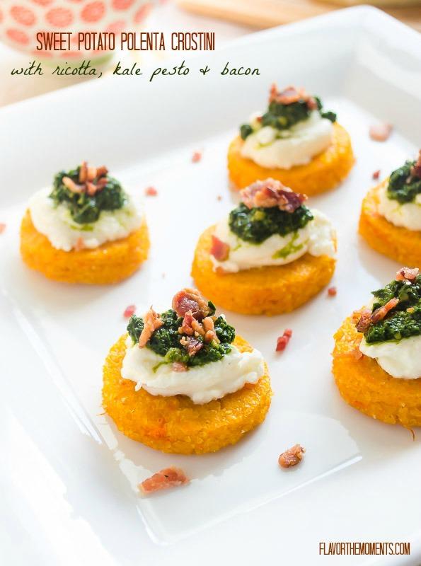 Sweet Potato Polenta Crostini With Ricotta Kale Pesto