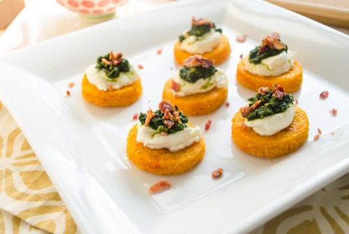 sweet-potato-polenta-crostini-with-ricotta-kale-pesto-and-bacon5 | flavorthemoments.com