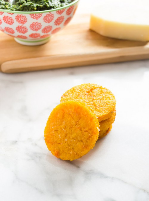 Sweet potato polenta rounds stacked up