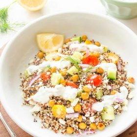 greek-quinoa-salad-with-roasted-chickpeas-and-tzatziki1 flavorthemoments.com