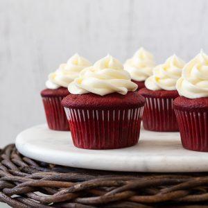 Red velvet cupcakes on marble board