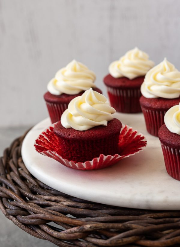 red velvet cupcakes with paper liner removed
