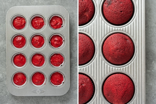 How to make red velvet cupcakes process collage 3