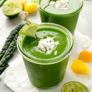 Tropi-Kale Green Smoothie is a creamy vegan smoothie packed with kale and tropical flavor! @FlavortheMoment