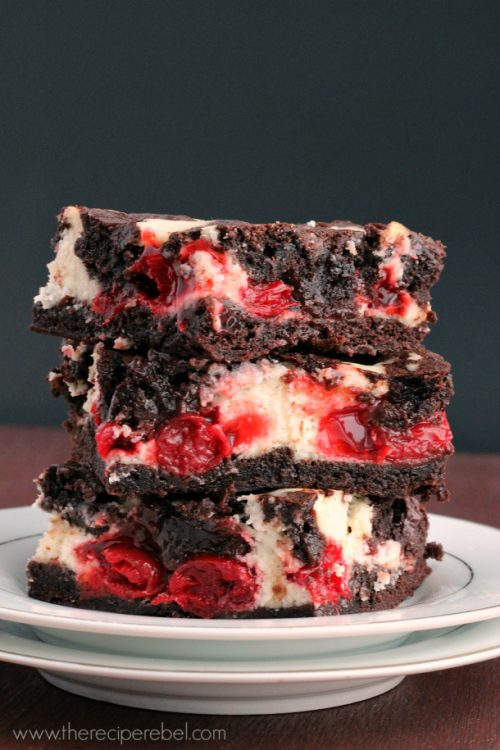 Stack of cherry cheesecake brownies
