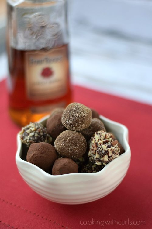 Chocolate bourbon truffles in a bowl