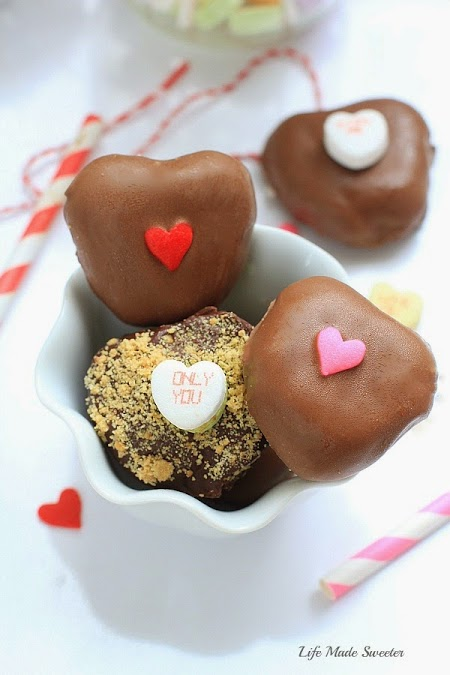 Heart shaped nutella truffles in a bowl