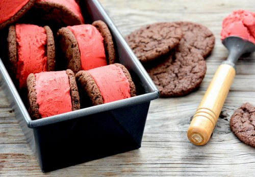 Red velvet ice cream sandwiches in loaf pan
