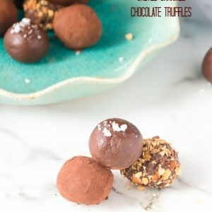 Caramel truffles rolled in cocoa powder and almonds