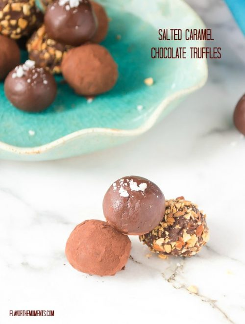 Salted caramel truffles piled up in front of plate