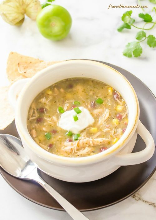Slow cooker chicken salsa verde soup in a bowl