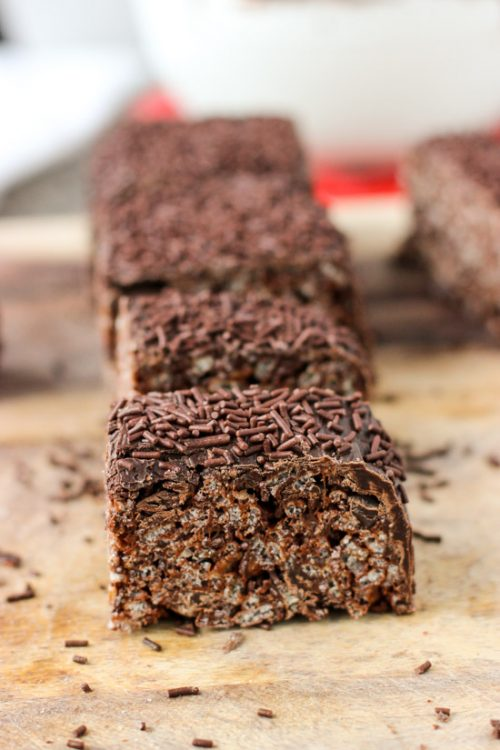 Chocolate rice krispies treats on parchment paper