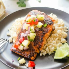 blackened-salmon-with-pineapple-salsa-and-coconut-rice1 | flavorthemoments.com