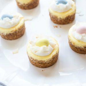 Mini coconut cheesecake on a platter