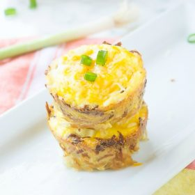 Mini Quiches with Hash Brown Crust are crispy hash brown crusts filled with a lightened up quiche filling with options for vegetarian or meat! {GF}