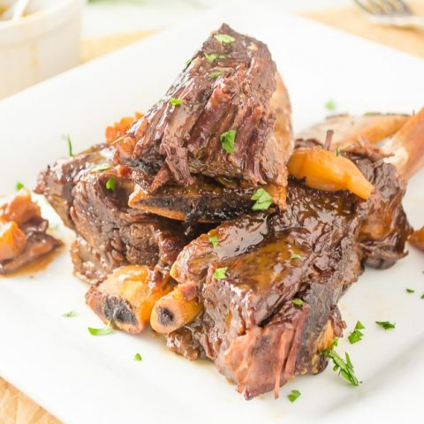 Pressure cooker short ribs on white plate