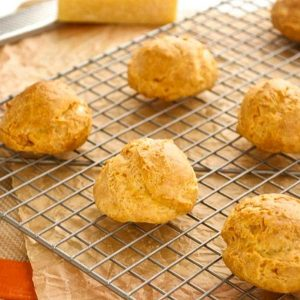 Gougeres on a wire rack