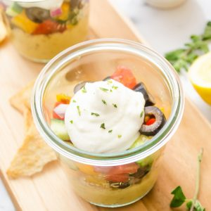7 layer hummus in jars
