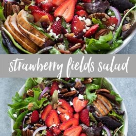 strawberry fields salad collage