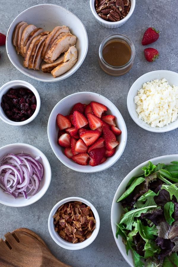 ingredients for strawberry fields salad