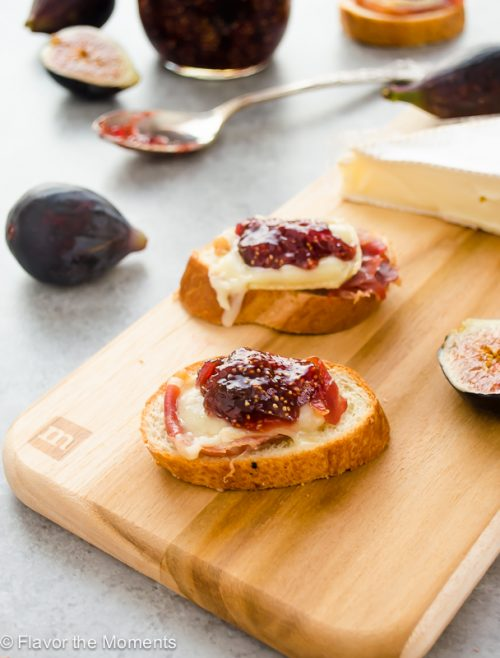 Brie, Fig Jam, and Serrano Ham Crostini - Flavor the Moments