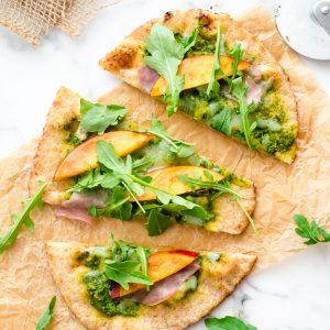 grilled-flatbread-pizza-with-arugula-pesto-nectarines-and-prosciutto1-flavorthemoments.com