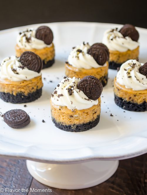 Mini Cookies \'N Cream Pumpkin Cheesecakes on cake stand