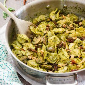 30-Minute Creamy Pesto Tortellini Skillet | flavorthemoments.com